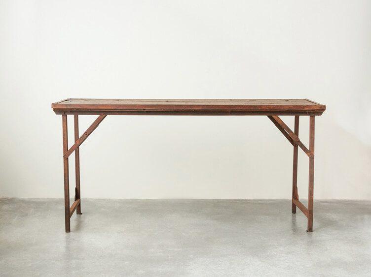 rustic metal leg farm table