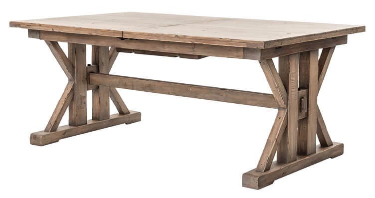 trestle farm table with rustic finish