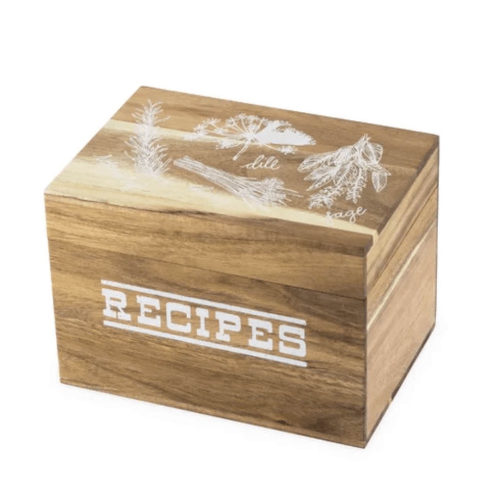 wood recipe box with herbs