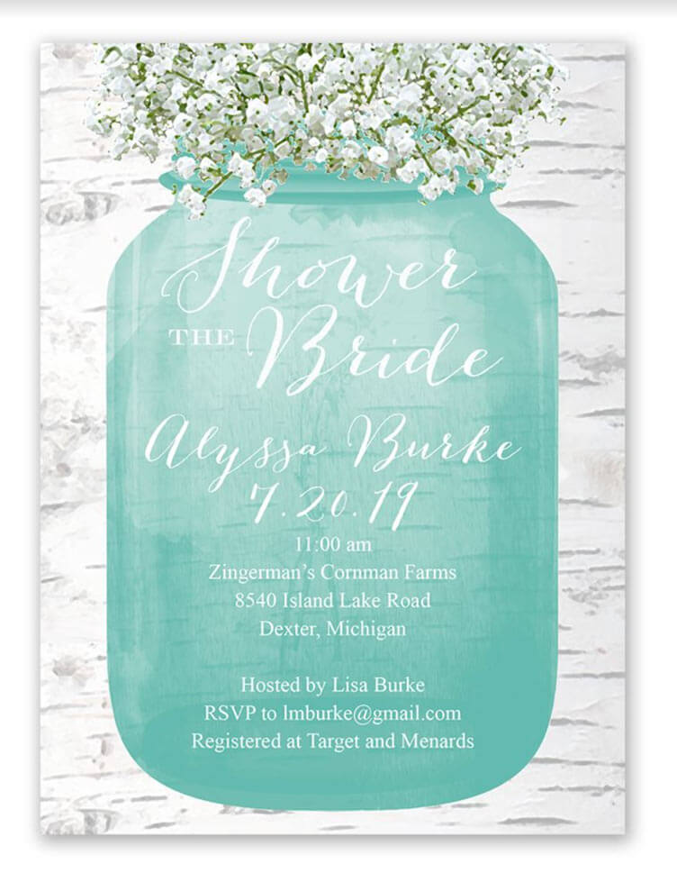 bridal shower invitation with mason jar
