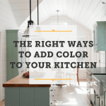 A colorful country style kitchen in sage green