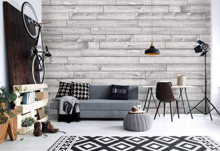 Rustic wood wall in living room with gray color scheme