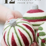 Threee red, green and white striped Christmas baubles made from felt