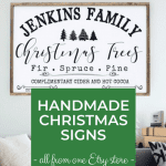 One of Shena's Christmas signs, Personalized Christmas tree sign with mixed vintage-inspired fonts.