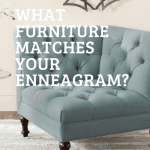 This piece of farmhouse furniture is a light blue, tufted accent chair.