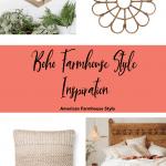 Boho farmhouse style products on a white background