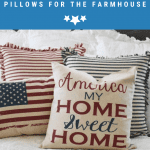 Four pillows in red, white and blue stripes and several styles and materials
