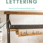 brush lettering on roll of craft paper