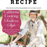 """The cover of the book """"California Cooking and Southern Style."""" The cover shows a woman preparing an outdoor dinner party during beautiful and fresh spring weather"""