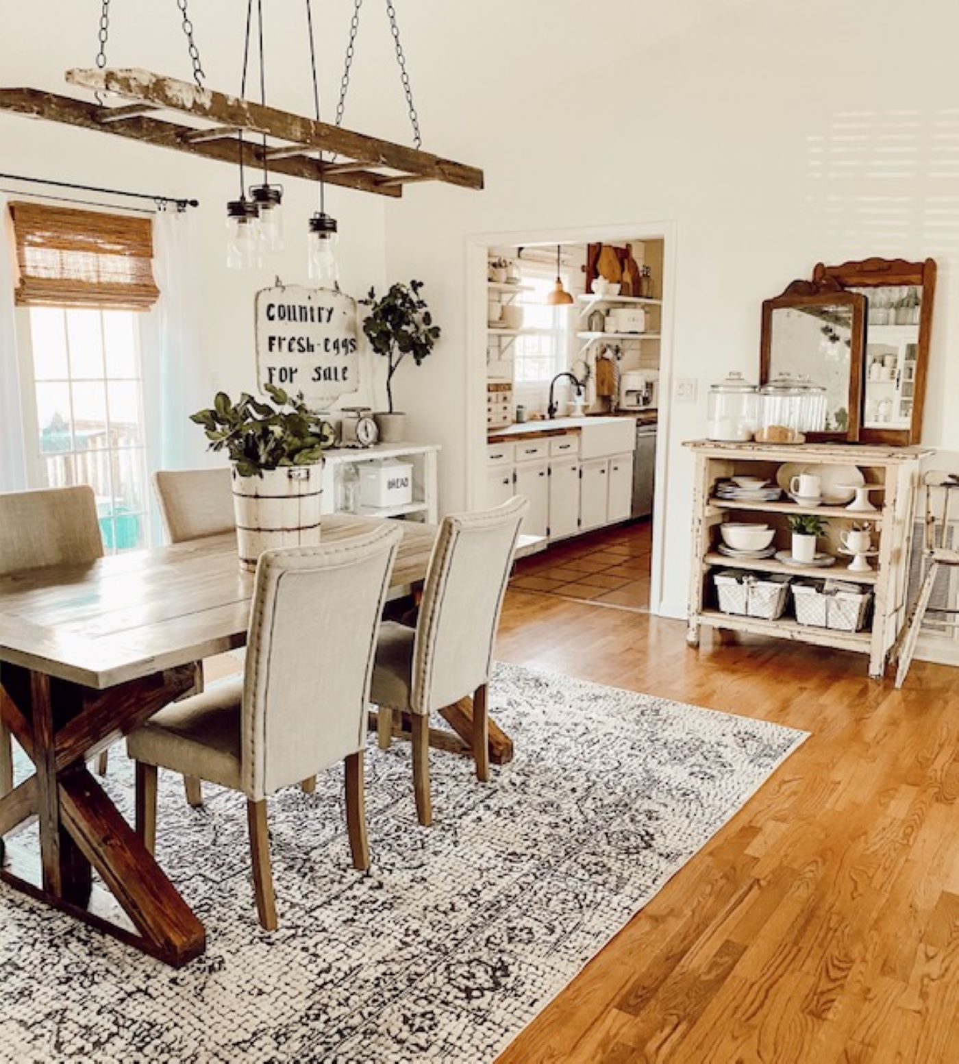 A Flea Market Farmhouse American, Farmhouse Style Dining Room Rugs