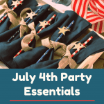 A set of five Fourth of July striped party straws with a small star decal on each one