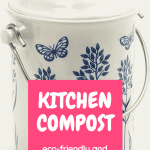 White countertop compost bn in white with delicate blue flowers and butterflies