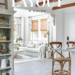 """Living room to dining room view with text that says """"Room Layout"""""""