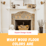 Wood floor around a white fireplace and antique tile