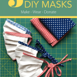 DIY cloth masks in red white and blue fabric