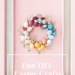 Easter egg wreath on pink door
