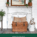 Farmhouse style hallway with mantel and vintage art