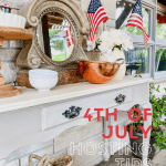 Hosting tips for 4th of July side table with American flags