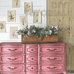 Pink dresser with text