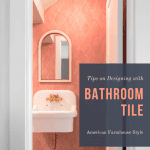 Powder room with pink bathroom tile and text