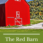 red barn with green hills in the background and text