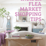 Living room with flea market shopping tips and text