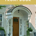 Front door New England home with curved portico and text