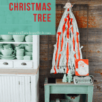 Tree next to cupboard with text