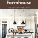Modern farmhouse kitchen with wood and steel barstools and text
