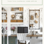 home office desk with open shelves and farmhouse decor and text