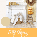 chippy mantel against white wall with pumpkins and other fall decor with text