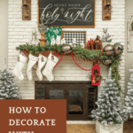 Fireplace and mantel with Christmas decor and garland with text