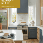 Modern farmhouse kitchen with blue and gold accents and rattan chair with text