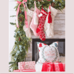 Mantel with pink and red Christmas colors and text