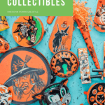 Flatlay with a variety of orange vintage Halloween collectibles and text