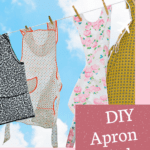 Aprons hanging on clothes line plus text