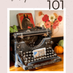 Vintage typewriter on table with text